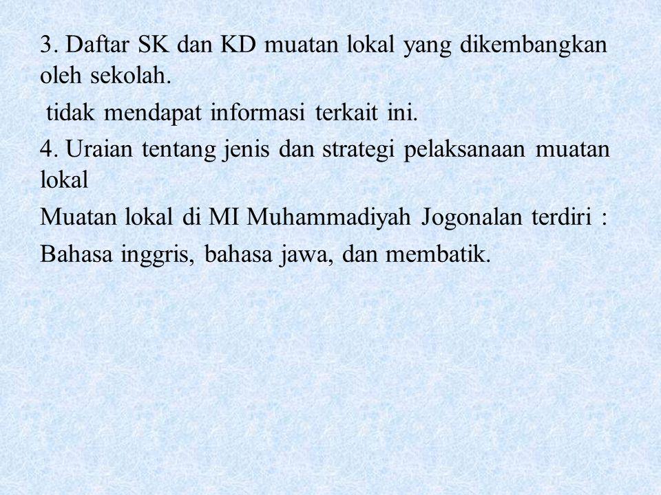 3. Daftar SK dan KD muatan lokal yang dikembangkan oleh sekolah. tidak mendapat informasi terkait ini. 4. Uraian tentang jenis dan strategi pelaksanaa