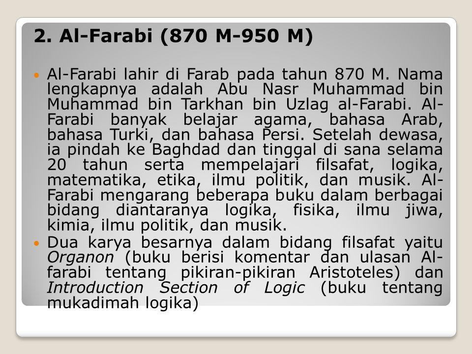 2.Al-Farabi (870 M-950 M) Al-Farabi lahir di Farab pada tahun 870 M.