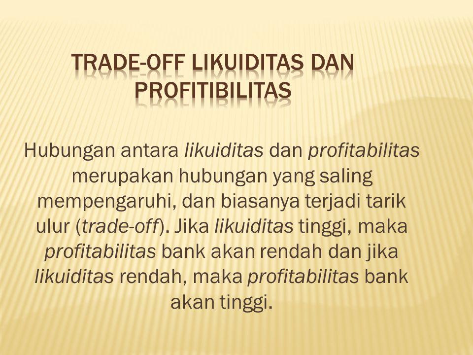 Hubungan antara likuiditas dan profitabilitas merupakan hubungan yang saling mempengaruhi, dan biasanya terjadi tarik ulur (trade-off).