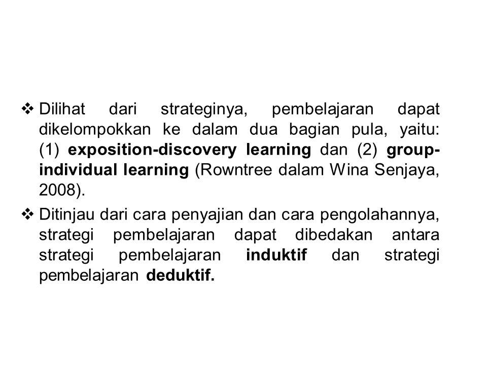  Dilihat dari strateginya, pembelajaran dapat dikelompokkan ke dalam dua bagian pula, yaitu: (1) exposition-discovery learning dan (2) group- individ