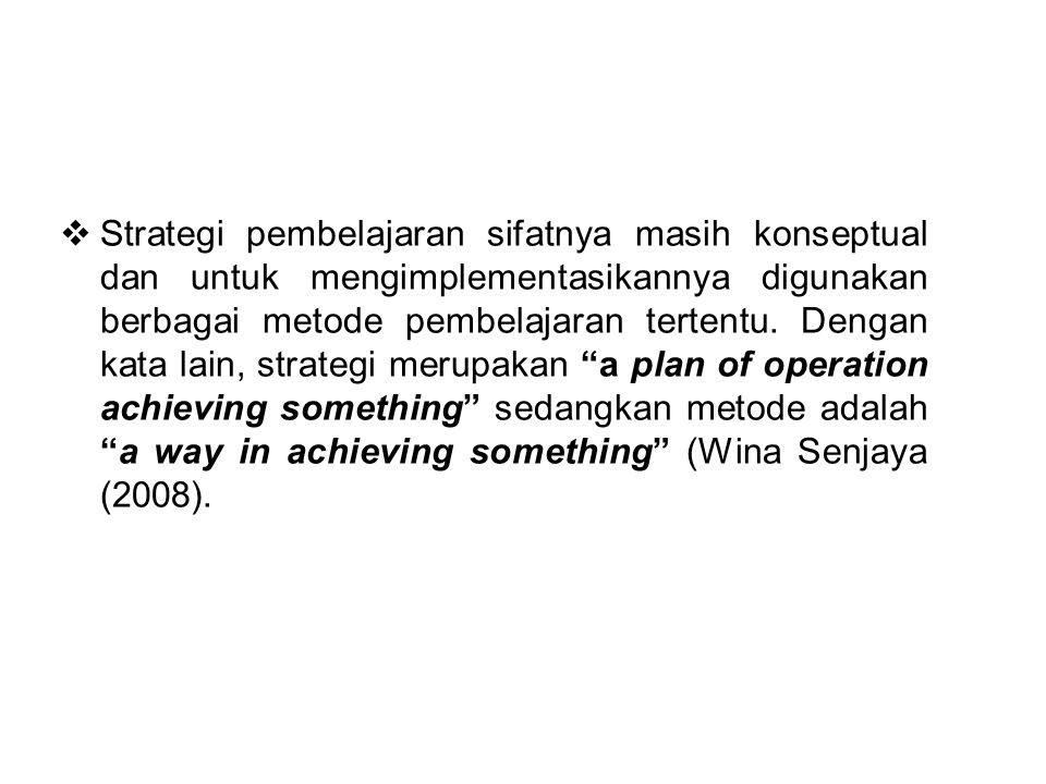  Strategi pembelajaran sifatnya masih konseptual dan untuk mengimplementasikannya digunakan berbagai metode pembelajaran tertentu. Dengan kata lain,
