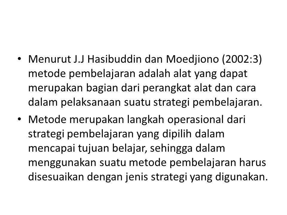 Menurut J.J Hasibuddin dan Moedjiono (2002:3) metode pembelajaran adalah alat yang dapat merupakan bagian dari perangkat alat dan cara dalam pelaksana