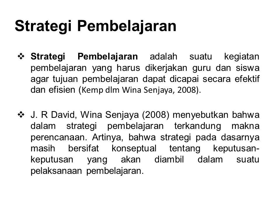 Strategi Pembelajaran  Strategi Pembelajaran adalah suatu kegiatan pembelajaran yang harus dikerjakan guru dan siswa agar tujuan pembelajaran dapat d