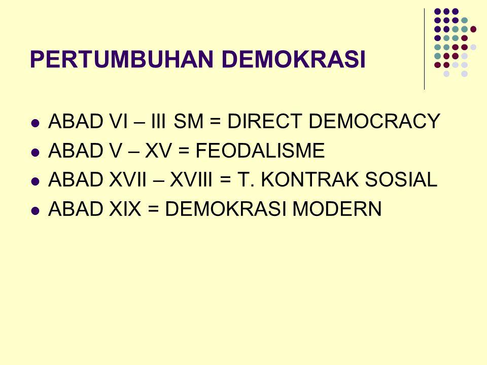 PERTUMBUHAN DEMOKRASI ABAD VI – III SM = DIRECT DEMOCRACY ABAD V – XV = FEODALISME ABAD XVII – XVIII = T. KONTRAK SOSIAL ABAD XIX = DEMOKRASI MODERN