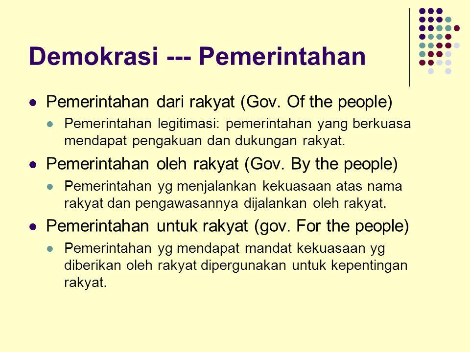 Demokrasi --- Pemerintahan Pemerintahan dari rakyat (Gov. Of the people) Pemerintahan legitimasi: pemerintahan yang berkuasa mendapat pengakuan dan du