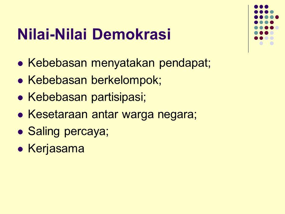Nilai-Nilai Demokrasi Kebebasan menyatakan pendapat; Kebebasan berkelompok; Kebebasan partisipasi; Kesetaraan antar warga negara; Saling percaya; Kerj