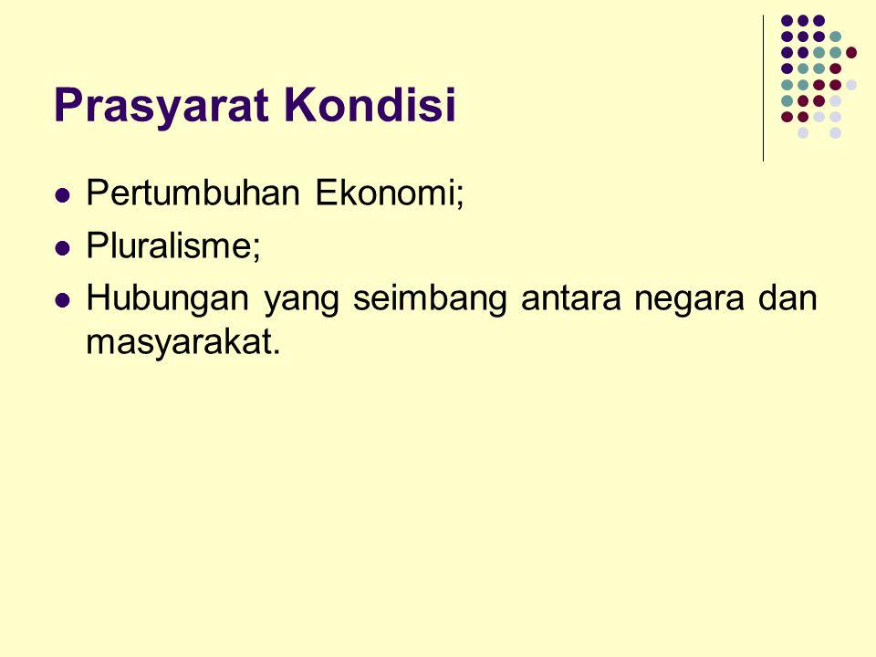 Prasyarat Kondisi Pertumbuhan Ekonomi; Pluralisme; Hubungan yang seimbang antara negara dan masyarakat.