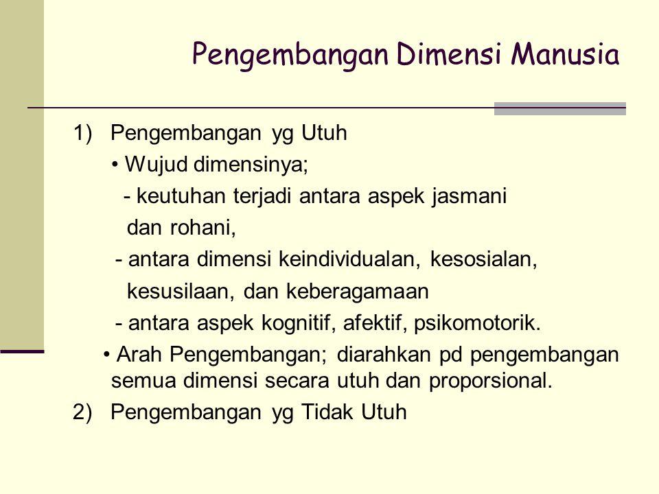 Pengembangan Dimensi Manusia 1) Pengembangan yg Utuh Wujud dimensinya; - keutuhan terjadi antara aspek jasmani dan rohani, - antara dimensi keindividu