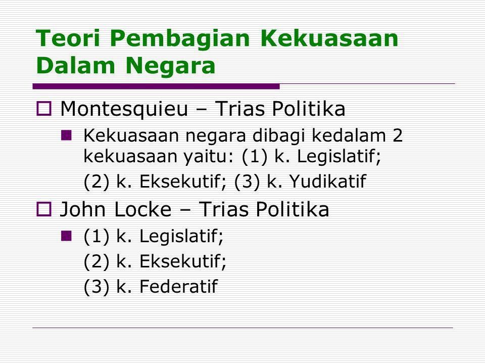Teori Pembagian Kekuasaan Dalam Negara  Montesquieu – Trias Politika Kekuasaan negara dibagi kedalam 2 kekuasaan yaitu: (1) k. Legislatif; (2) k. Eks