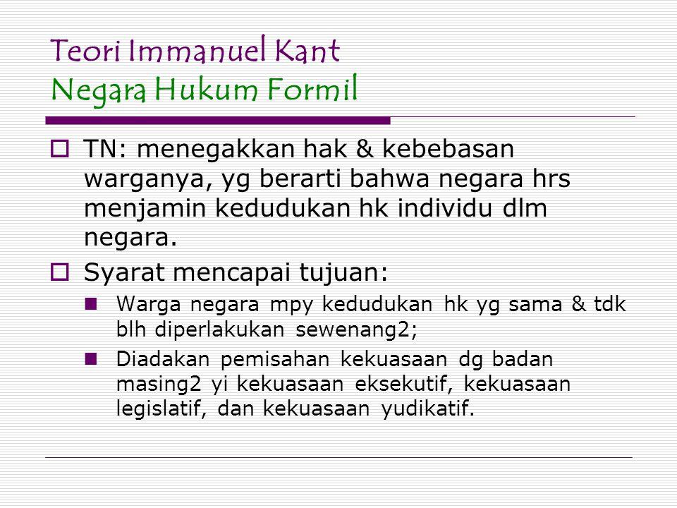 Teori Immanuel Kant Negara Hukum Formil  TN: menegakkan hak & kebebasan warganya, yg berarti bahwa negara hrs menjamin kedudukan hk individu dlm nega