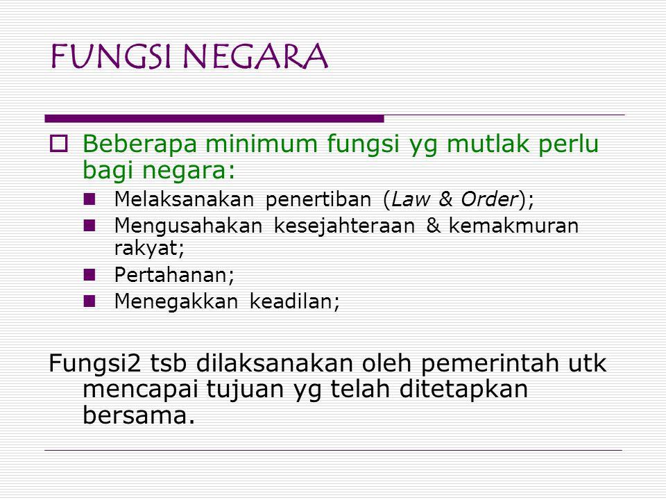 FUNGSI NEGARA  Beberapa minimum fungsi yg mutlak perlu bagi negara: Melaksanakan penertiban (Law & Order); Mengusahakan kesejahteraan & kemakmuran ra