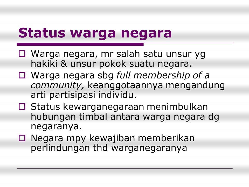 Status warga negara  Warga negara, mr salah satu unsur yg hakiki & unsur pokok suatu negara.  Warga negara sbg full membership of a community, keang