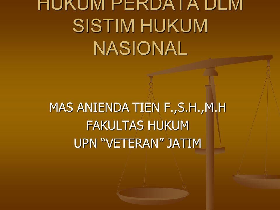 HUKUM PERDATA DLM SISTIM HUKUM NASIONAL MAS ANIENDA TIEN F.,S.H.,M.H FAKULTAS HUKUM UPN VETERAN JATIM