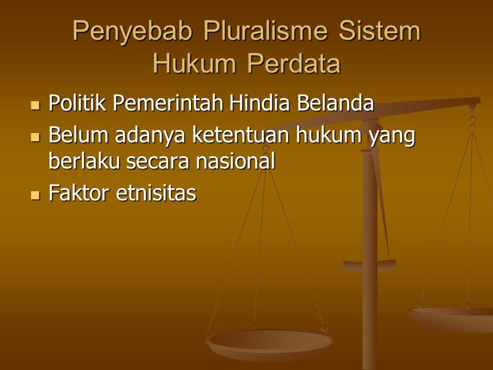 Penyebab Pluralisme Sistem Hukum Perdata Politik Pemerintah Hindia Belanda Politik Pemerintah Hindia Belanda Belum adanya ketentuan hukum yang berlaku secara nasional Belum adanya ketentuan hukum yang berlaku secara nasional Faktor etnisitas Faktor etnisitas