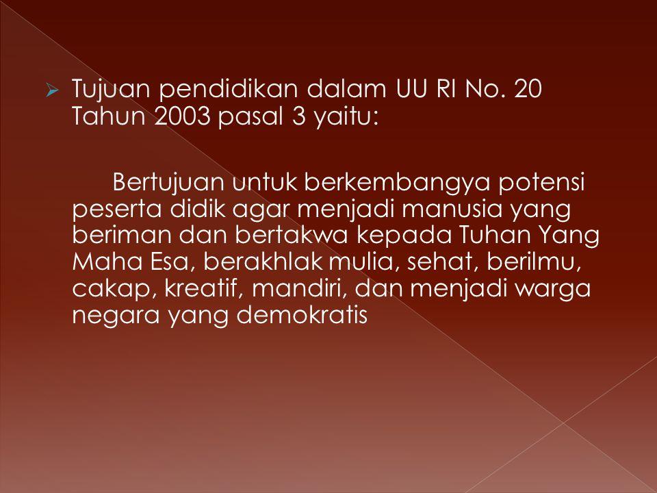  Tujuan pendidikan dalam UU RI No.