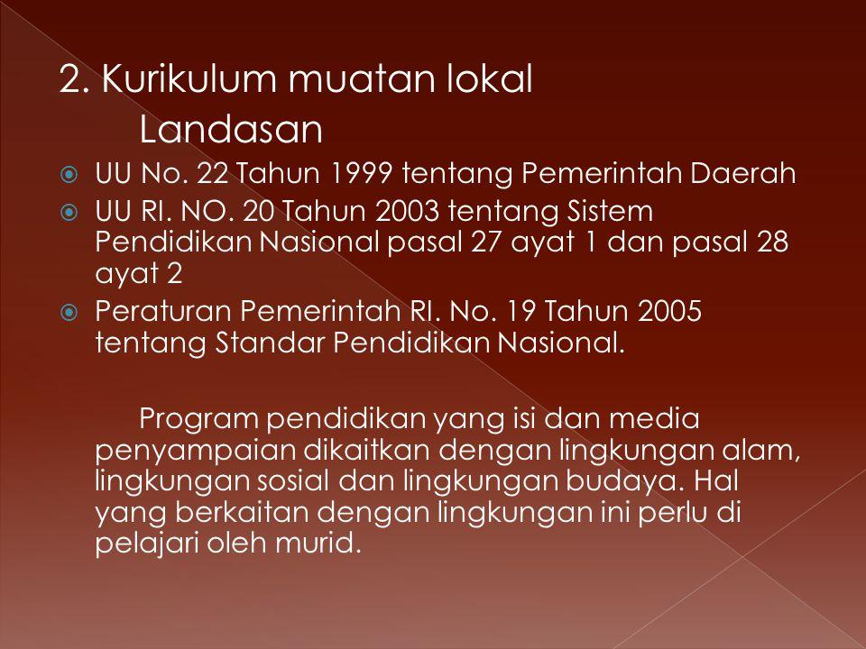 2. Kurikulum muatan lokal Landasan  UU No. 22 Tahun 1999 tentang Pemerintah Daerah  UU RI.