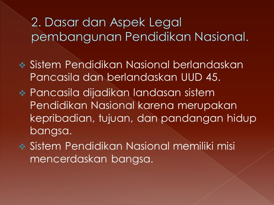  Sistem Pendidikan Nasional berlandaskan Pancasila dan berlandaskan UUD 45.
