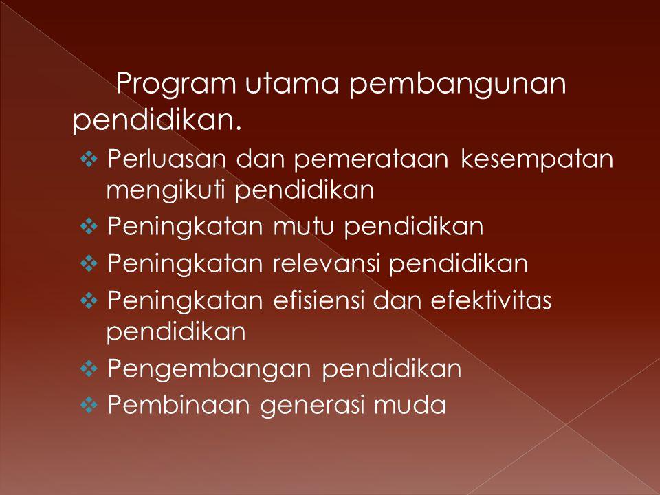 Program utama pembangunan pendidikan.