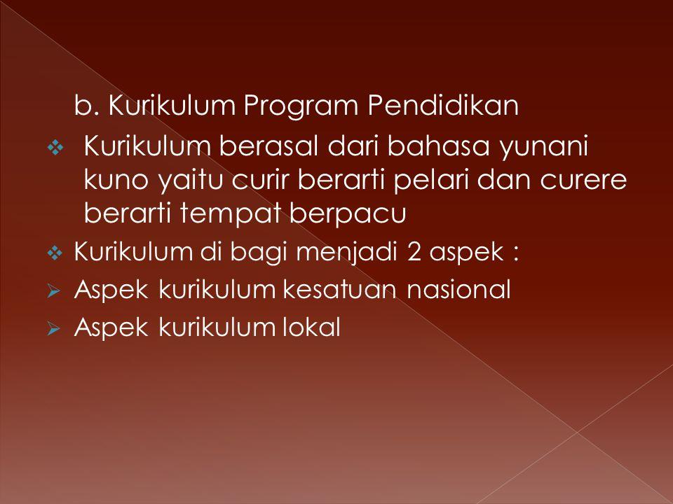 b. Kurikulum Program Pendidikan KKurikulum berasal dari bahasa yunani kuno yaitu curir berarti pelari dan curere berarti tempat berpacu KKurikulum
