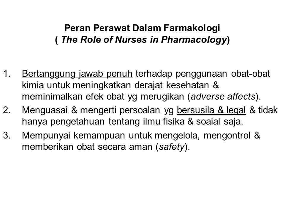 Peran Perawat Dalam Farmakologi ( The Role of Nurses in Pharmacology) 1.Bertanggung jawab penuh terhadap penggunaan obat-obat kimia untuk meningkatkan
