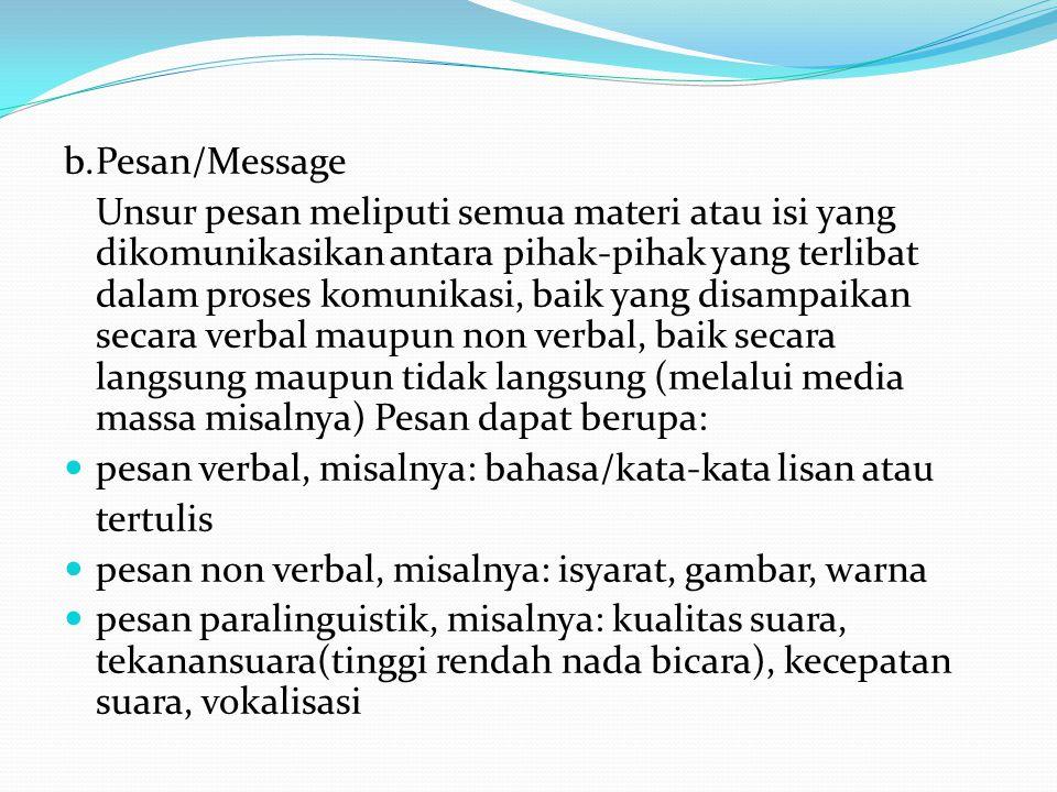 b.Pesan/Message Unsur pesan meliputi semua materi atau isi yang dikomunikasikan antara pihak-pihak yang terlibat dalam proses komunikasi, baik yang di