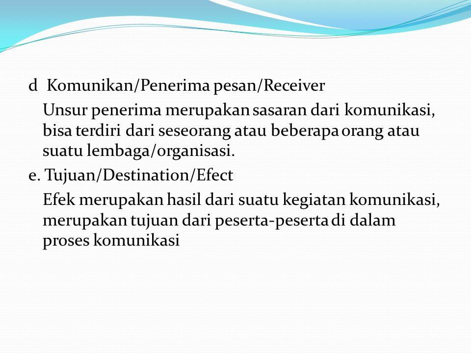 d Komunikan/Penerima pesan/Receiver Unsur penerima merupakan sasaran dari komunikasi, bisa terdiri dari seseorang atau beberapa orang atau suatu lemba