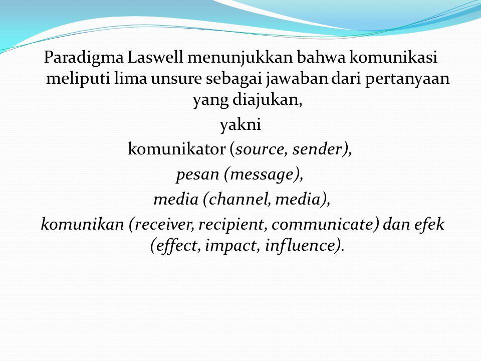 Paradigma Laswell menunjukkan bahwa komunikasi meliputi lima unsure sebagai jawaban dari pertanyaan yang diajukan, yakni komunikator (source, sender),