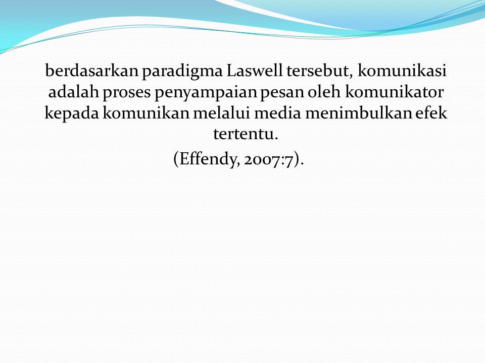 berdasarkan paradigma Laswell tersebut, komunikasi adalah proses penyampaian pesan oleh komunikator kepada komunikan melalui media menimbulkan efek te