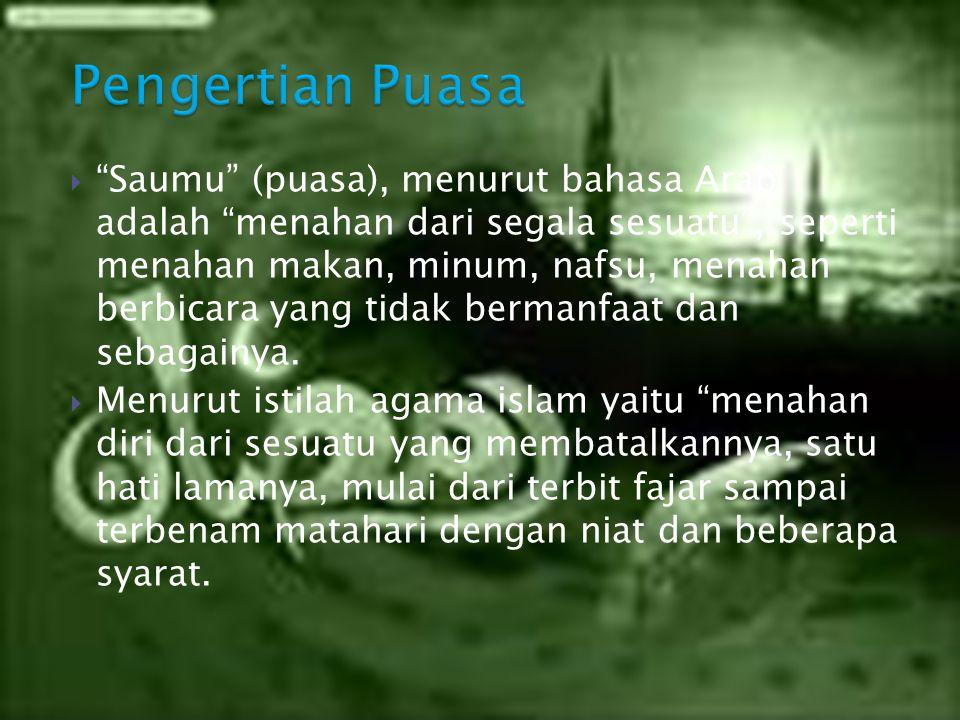 NoJenis PuasaKeterangan 1Puasa WajibPuasa bulan Ramadhan, puasa Kafarat, dan puasa Nazar.