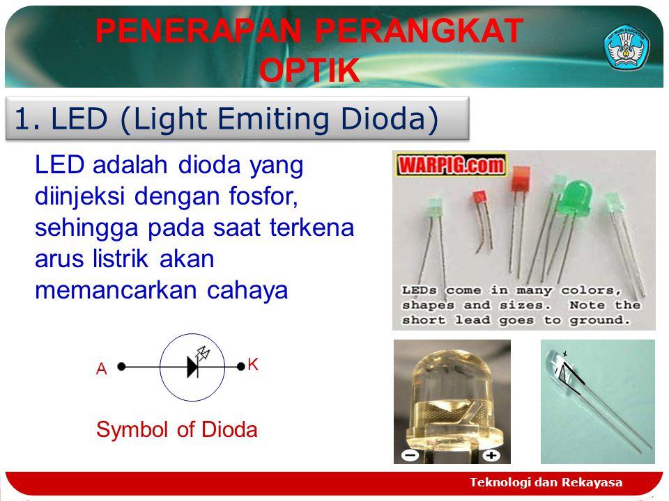 Teknologi dan Rekayasa PENERAPAN PERANGKAT OPTIK 1.LED (Light Emiting Dioda) LED adalah dioda yang diinjeksi dengan fosfor, sehingga pada saat terkena arus listrik akan memancarkan cahaya A K Symbol of Dioda