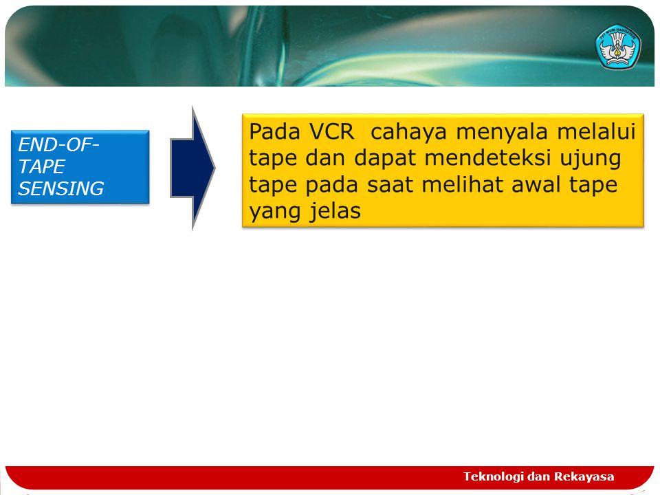 Teknologi dan Rekayasa END-OF- TAPE SENSING Pada VCR cahaya menyala melalui tape dan dapat mendeteksi ujung tape pada saat melihat awal tape yang jela