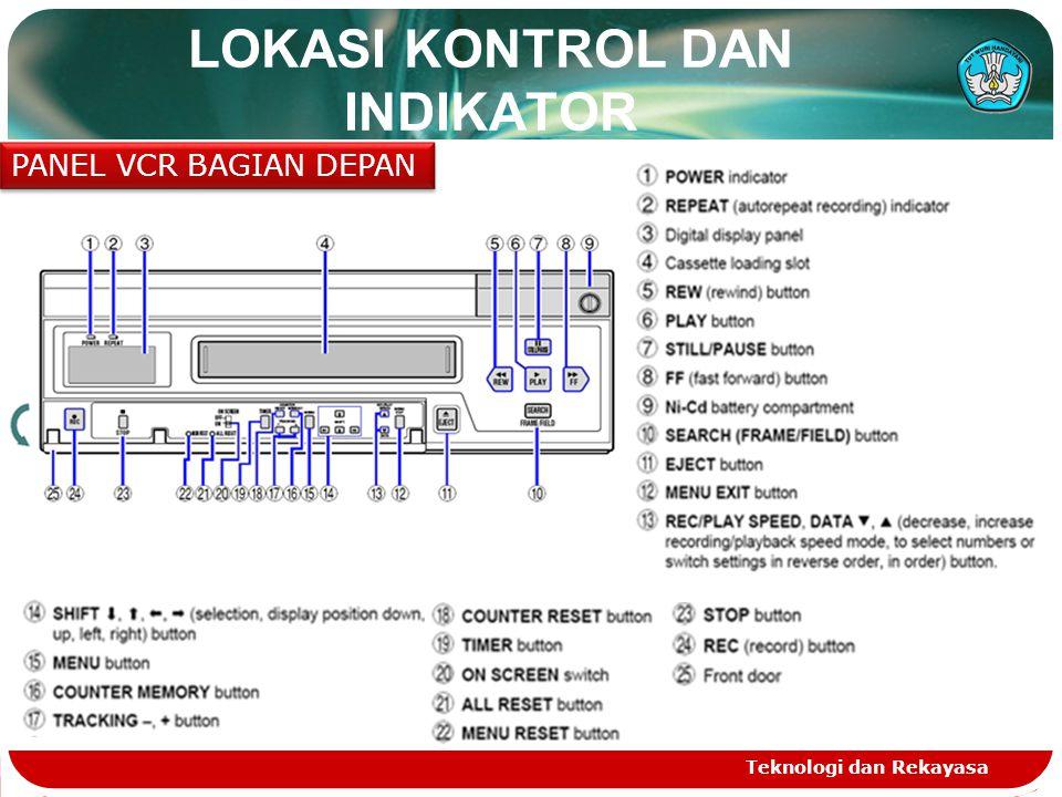 Teknologi dan Rekayasa LOKASI KONTROL DAN INDIKATOR PANEL VCR BAGIAN DEPAN