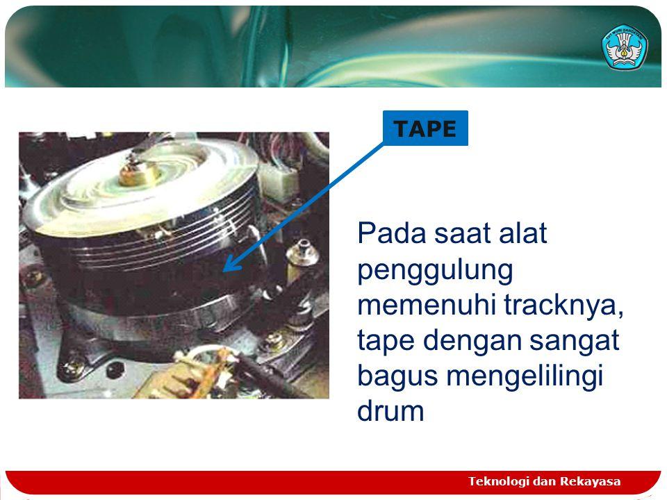 PRINSIP KERJA PEREKAMAN Teknologi dan Rekayasa TAPE BLANK Head menghasilkan medan magnet bervariasi sesuai dengan sinyal yang diterima piranti perekam Informasi magnetik dibekukan dalam lapisan tape magnetik pada saat melalui head recording PLAY BACK