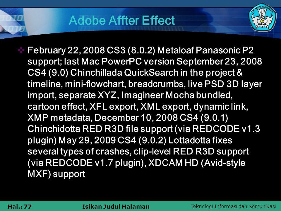 Teknologi Informasi dan Komunikasi Hal.: 77Isikan Judul Halaman Adobe Affter Effect  February 22, 2008 CS3 (8.0.2) Metaloaf Panasonic P2 support; las
