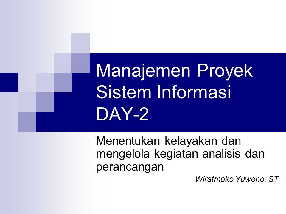 Manajemen Proyek Sistem Informasi DAY-2 Menentukan kelayakan dan mengelola kegiatan analisis dan perancangan Wiratmoko Yuwono, ST