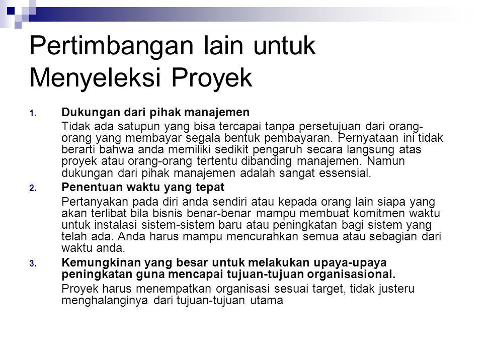 Pertimbangan lain untuk Menyeleksi Proyek 4.