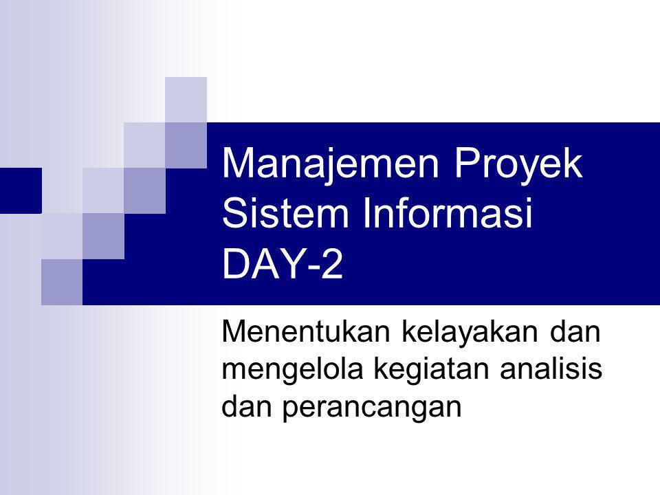 Manajemen Proyek Sistem Informasi DAY-2 Menentukan kelayakan dan mengelola kegiatan analisis dan perancangan