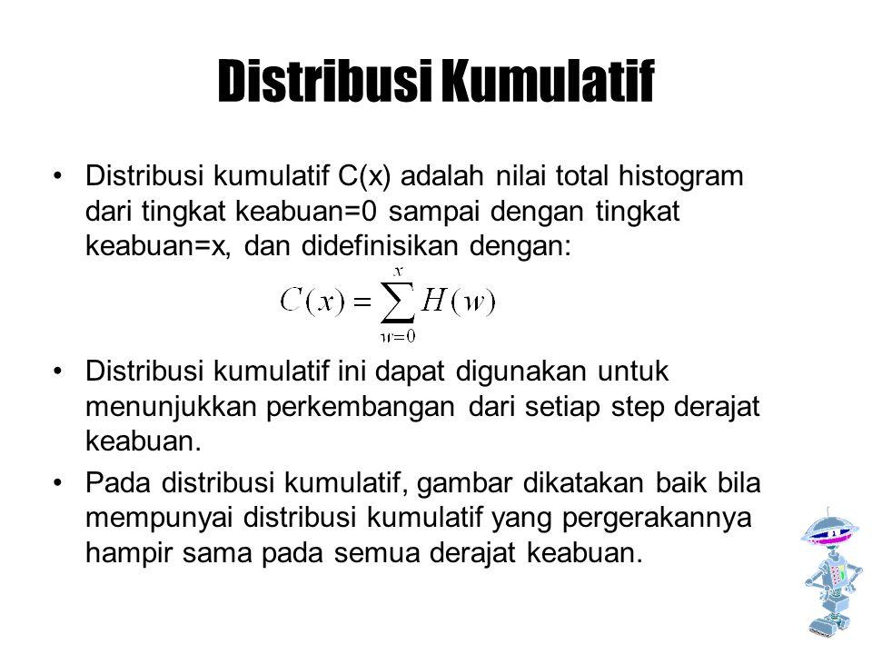 Distribusi Kumulatif Distribusi kumulatif C(x) adalah nilai total histogram dari tingkat keabuan=0 sampai dengan tingkat keabuan=x, dan didefinisikan dengan: Distribusi kumulatif ini dapat digunakan untuk menunjukkan perkembangan dari setiap step derajat keabuan.
