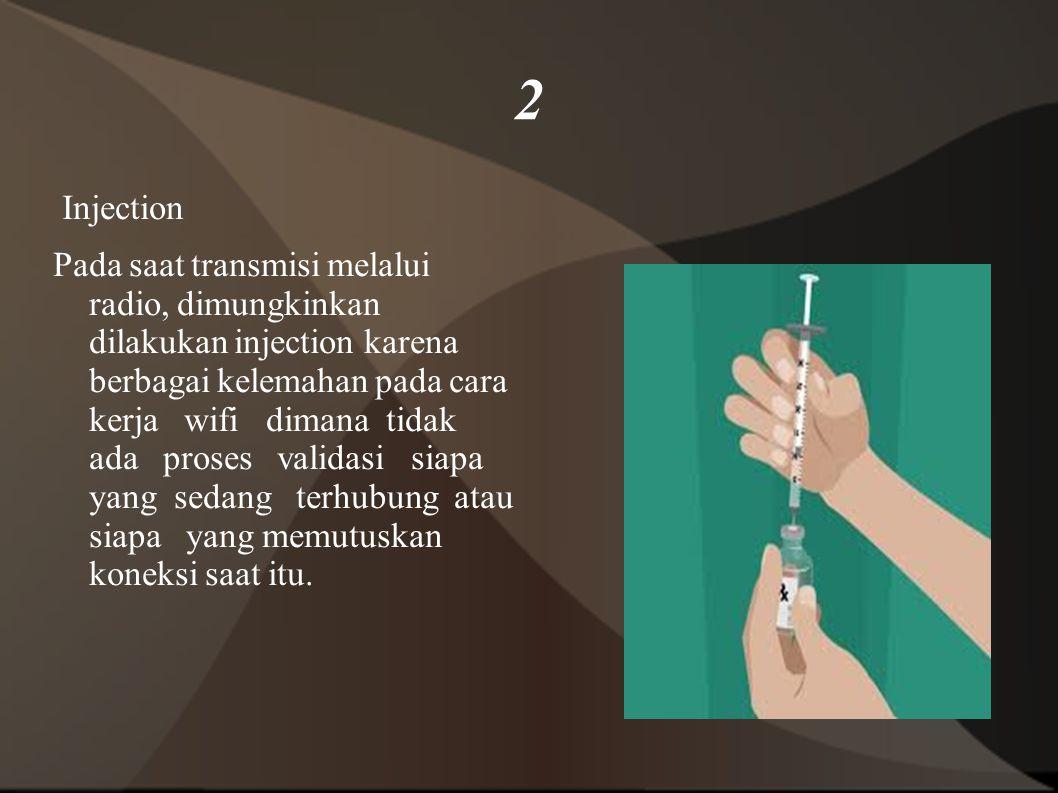 2 Injection Pada saat transmisi melalui radio, dimungkinkan dilakukan injection karena berbagai kelemahan pada cara kerja wifi dimana tidak ada proses validasi siapa yang sedang terhubung atau siapa yang memutuskan koneksi saat itu.
