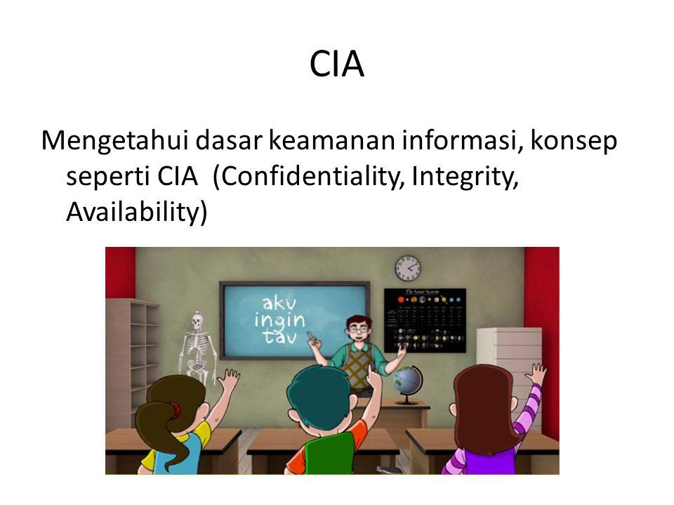 CIA Mengetahui dasar keamanan informasi, konsep seperti CIA (Confidentiality, Integrity, Availability)