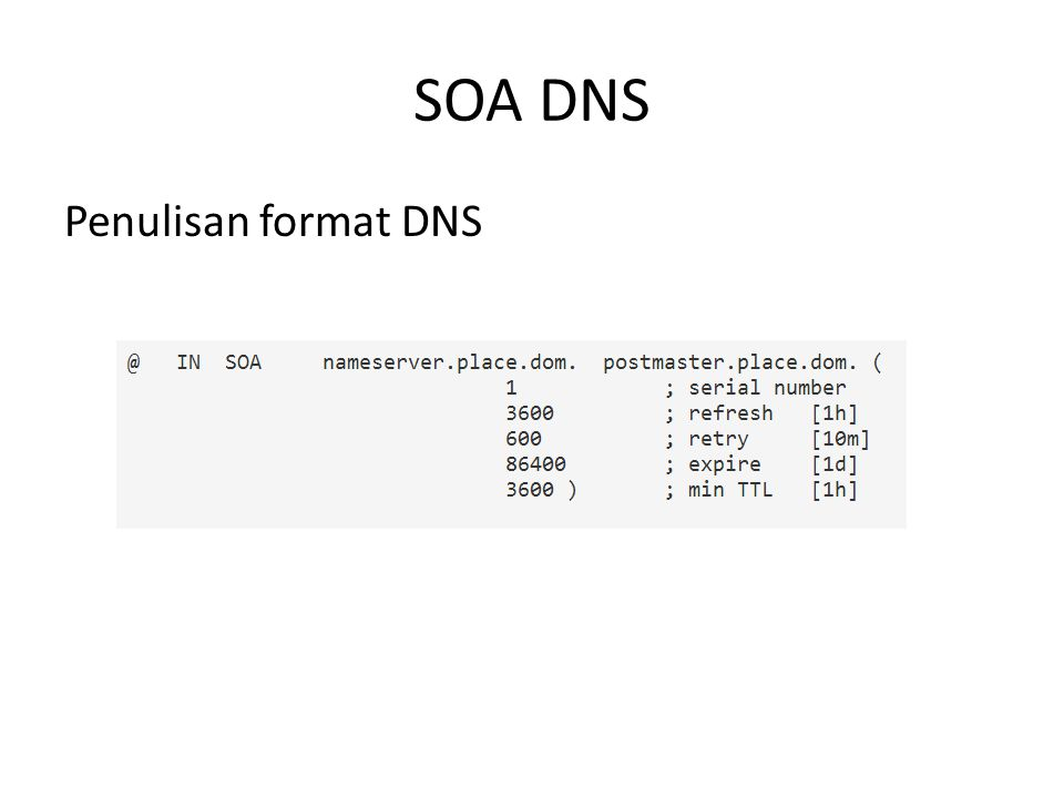 SOA DNS Penulisan format DNS