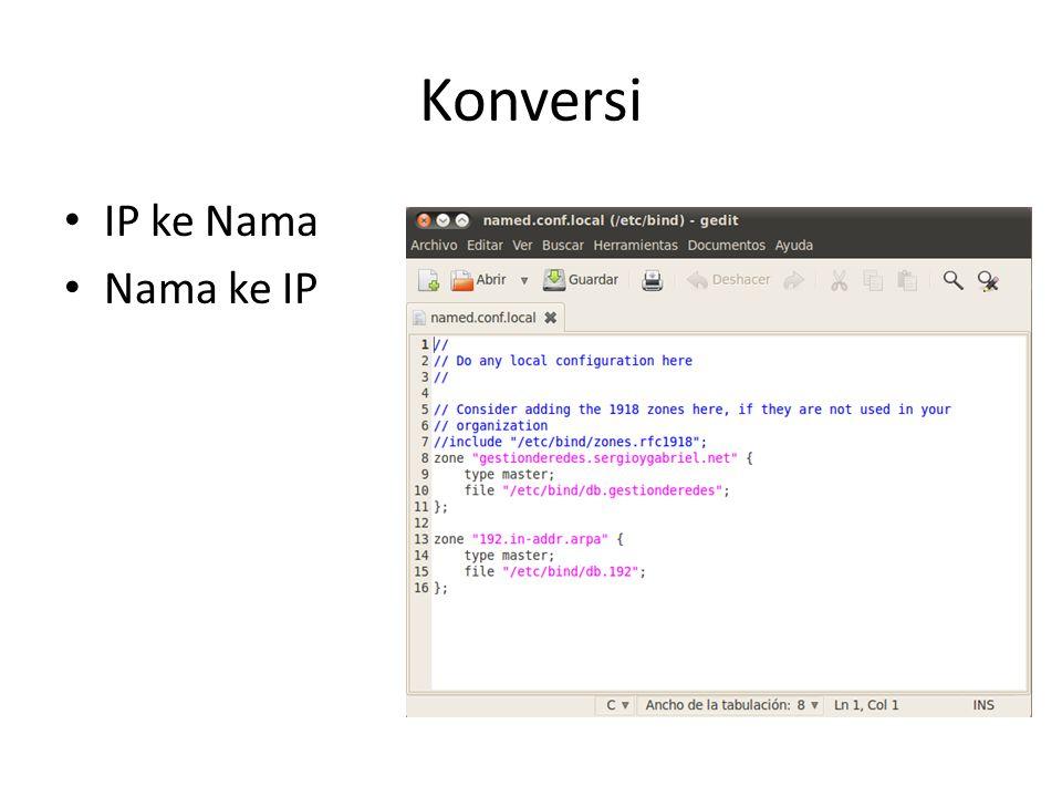 Konversi IP ke Nama Nama ke IP