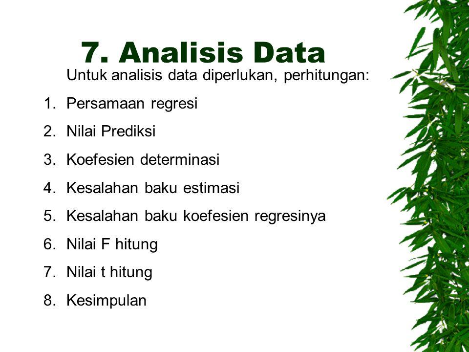 7. Analisis Data Untuk analisis data diperlukan, perhitungan: 1.Persamaan regresi 2.Nilai Prediksi 3.Koefesien determinasi 4.Kesalahan baku estimasi 5