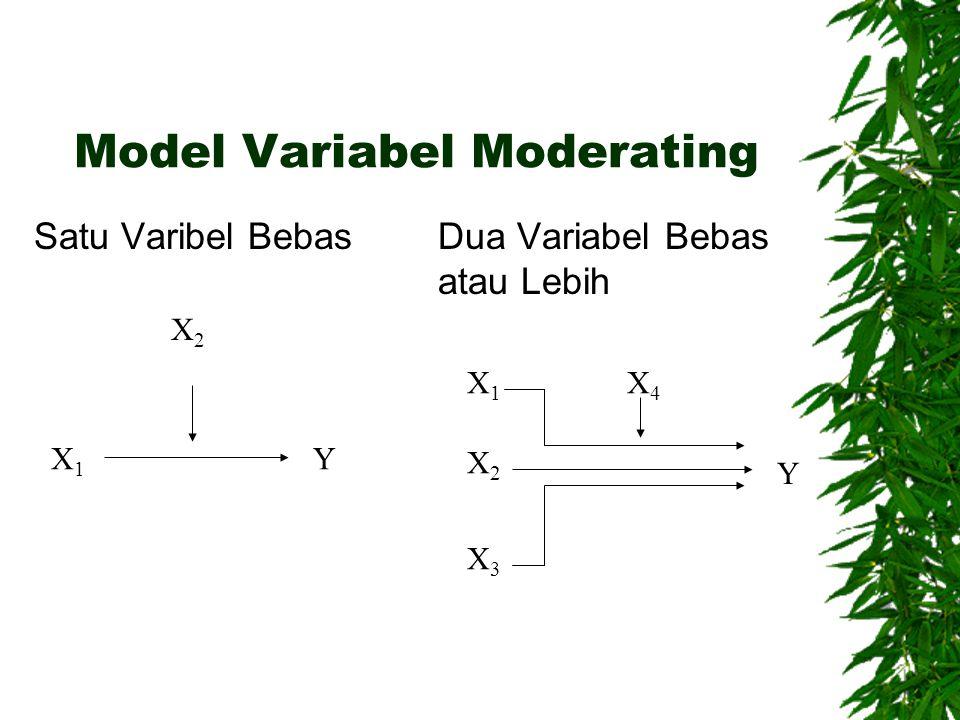 Model Variabel Moderating Satu Varibel Bebas Dua Variabel Bebas atau Lebih X1X1 Y X2X2 X1X1 X2X2 X3X3 X4X4 Y