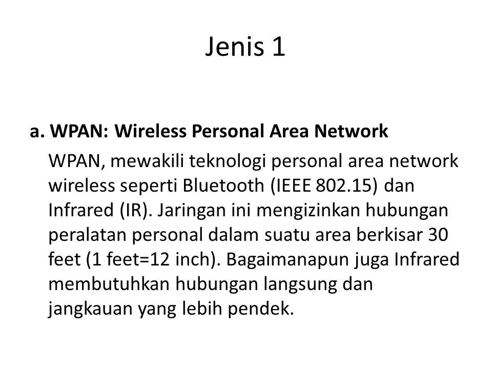 Jenis 1 a. WPAN: Wireless Personal Area Network WPAN, mewakili teknologi personal area network wireless seperti Bluetooth (IEEE 802.15) dan Infrared (