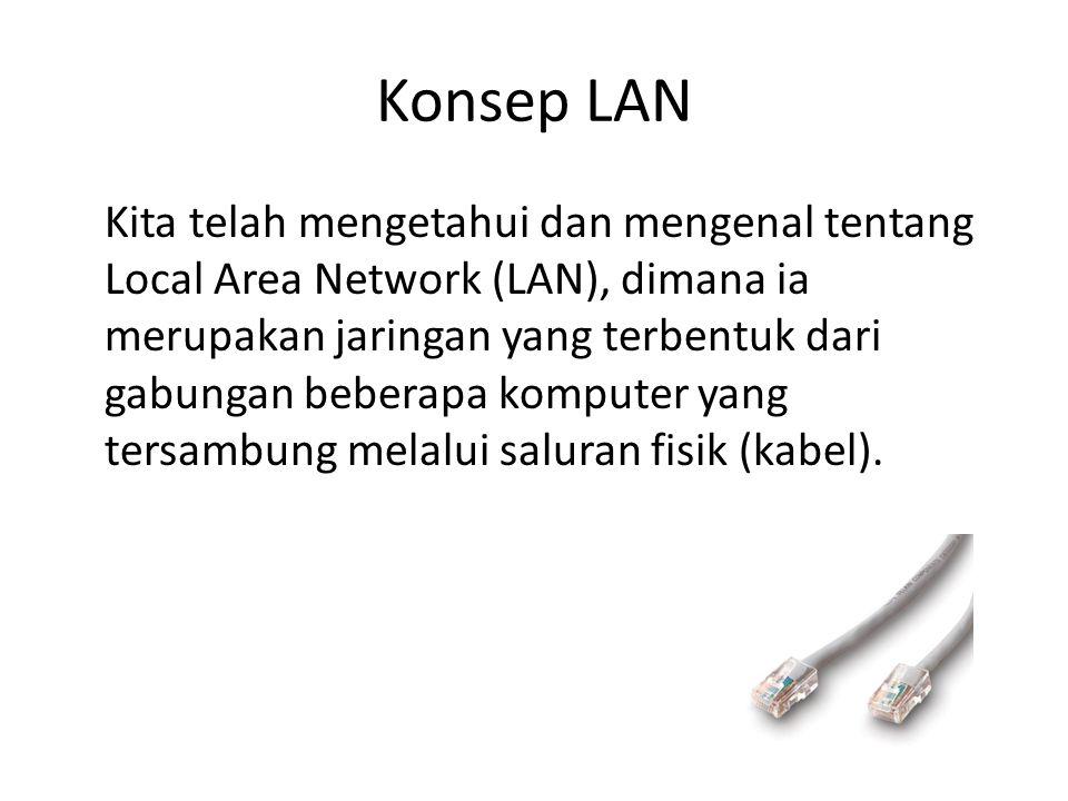 Konsep LAN Kita telah mengetahui dan mengenal tentang Local Area Network (LAN), dimana ia merupakan jaringan yang terbentuk dari gabungan beberapa kom