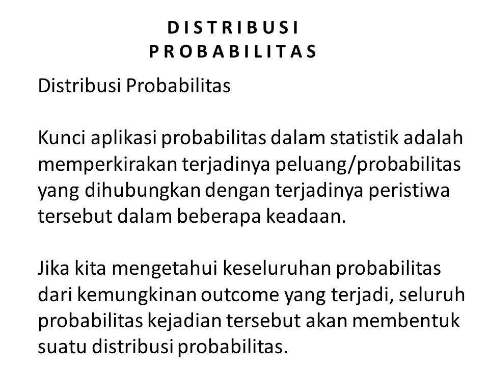 D I S T R I B U S I P R O B A B I L I T A S Distribusi Probabilitas Kunci aplikasi probabilitas dalam statistik adalah memperkirakan terjadinya peluan