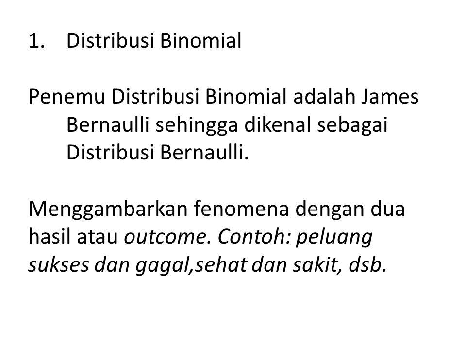 1.Distribusi Binomial Penemu Distribusi Binomial adalah James Bernaulli sehingga dikenal sebagai Distribusi Bernaulli. Menggambarkan fenomena dengan d