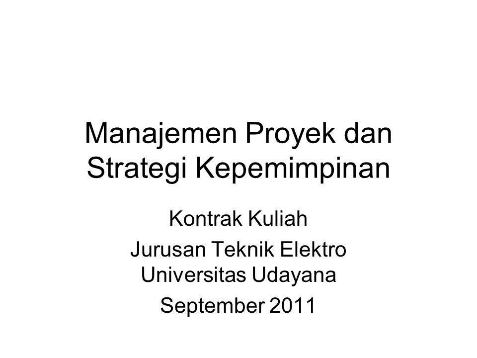 Mata Kuliah: Manajemen Proyek dan Strategi Kepemimpinan Kode Mata Kuliah: TE057409 Pengajar: Ir.
