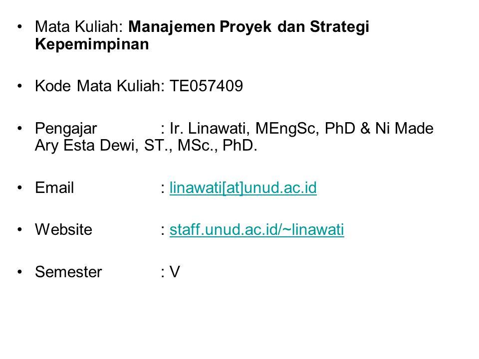 Mata Kuliah: Manajemen Proyek dan Strategi Kepemimpinan Kode Mata Kuliah: TE057409 Pengajar: Ir. Linawati, MEngSc, PhD & Ni Made Ary Esta Dewi, ST., M